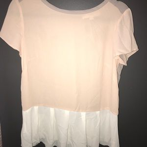 LOFT pink, cream, and gray blouse